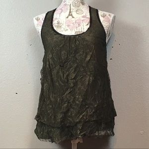 Forest green lace layering tank top